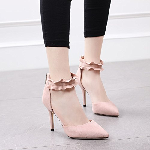 Shoe Single Shallow Lady Spring Sharp 5Cm Pink Lace Zipper Heels Sexy MDRW Elegant Sexy High Women Buckles Fine Heel Work Head Mouth 6 Leisure Shoes 36 d7Rc8WP