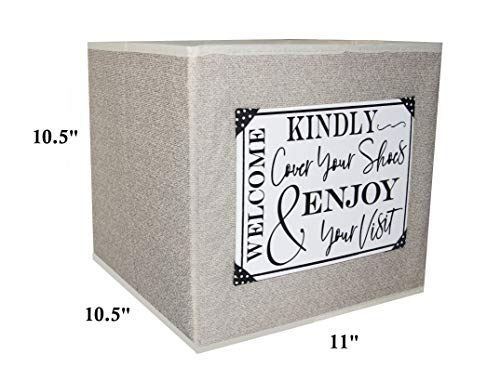 Open House Event Must Have. Attractive Foldable Storage Cube to Store Disposable or Reusable Shoe Cover Booties. Handmade Canvas Sign with Strong Vinyl and Ribbon Accents. F (Tan)