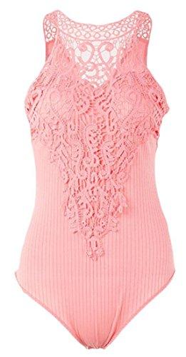 Lace Bodysuit Lady Gaga - GAGA Womens Slim Lace Sleeveless Bodysuit Rompe Pink M