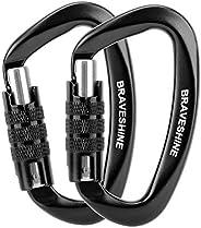 BRAVESHINE Heavy Duty Carabiner - 2 Pack D Ring Snap Keychain Locking Caribeaner Clips - 12KN Aluminum Screw B