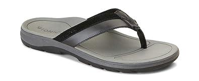 30dc147070ef Vionic Canoe Dennis Toe-Post Sandal - Men s Leather Flip-Flop with Concealed  Orthotic