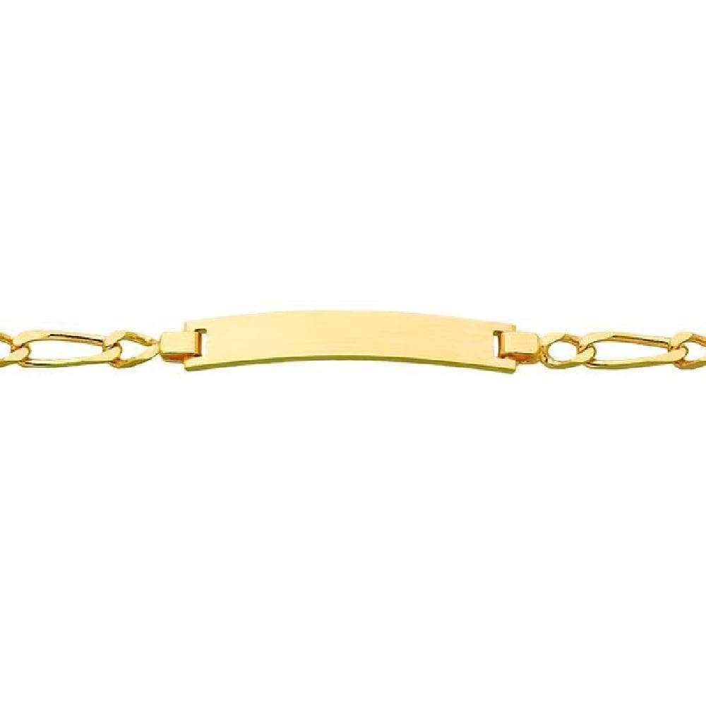 Children 9k Yellow Gold 14 cm Customisable: Your Message Engraved Free Rectangle Plate 1//1 Alternation Curb Chain ID Bracelet So Chic Jewels