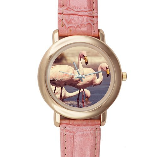 Gifts for girls or ladies Flamingos in the River Pattern Pink Leather Alloy High-grade Watch
