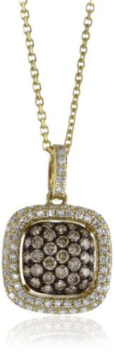 "KC Designs ""Tres Chic"" Champagne and White Diamond 14k Yellow Gold Pendant, 16″"