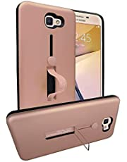 Detachable TPU + PC Hybrid Grid Heat Dissipation Protective Cover with Invisible Kickstand for Samsung Galaxy J7 Prime - Rose Gold