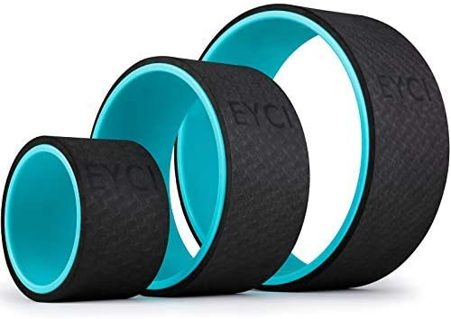 EYCI Yoga Wheel Roller 3 Pack for Back/Neck Pain Therapy, Yoga Prop Wheel Relieves Strain Muscles, Stretching, Improving Backbends and Flexibility
