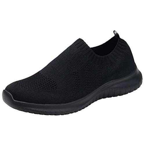 konhill Women's Walking Tennis Shoes - Lightweight Athletic Casual Gym Slip on Sneakers 5 US All Black,35