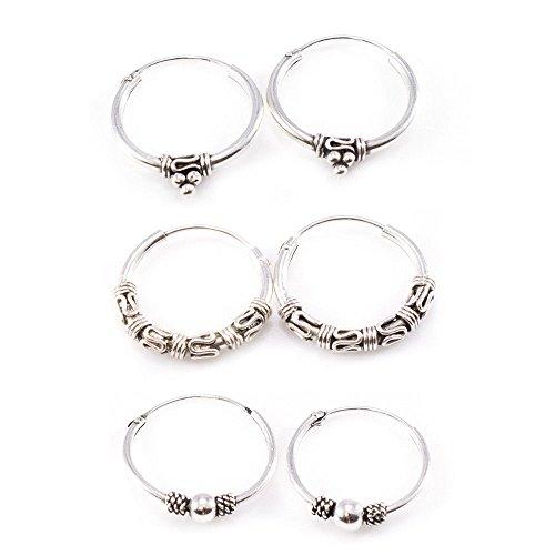 BodyJewelryOnline Hinged Hoop Earring Vintage Look Pack of 3 Pairs Made of Silver 22g 20mm