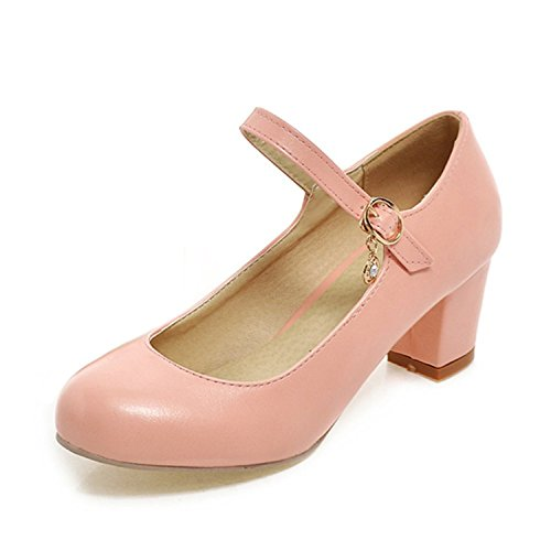 Sellwend Women's Sweet Round Toe Closed Ankle Strap Chunky Mid Heel Pumps Shoes Pink5 B(M) US Active demand