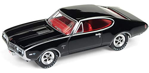 1968 Oldsmobile Cutlass W-31 Ram Rod 350 Black with Red Interior Limited Edition to 1,752 Pieces Worldwide 1/64 Diecast Model Car by Johnny Lightning JLSP034
