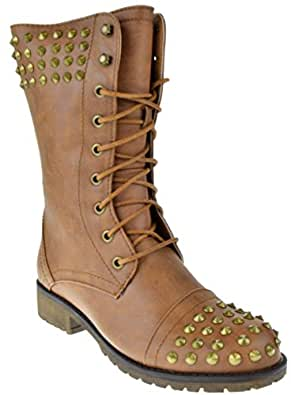 Harley 14 Womens Military Lace up Studded Combat Boot Tan 7