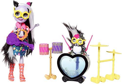 Enchantimals Muñeca rockera Sage Skunk y su batería, accesorios muñeca (Mattel FRH41)