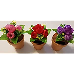 Solar Dancing Roses Red Pink Purple Set of 3 Fabric Flowers Clay Look Pot 85