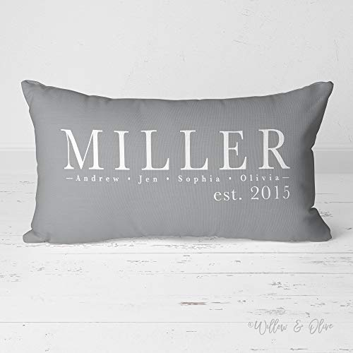 Family Name Pillow, Personalized Pillow, Custom Lumbar Throw Pillow, Established Date Pillow