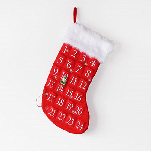 Tinsel Town Red Stocking Fabric Christmas Advent Countdown Calender