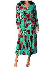 فستان DressU نسائي ذو رقبة على شكل حرف V وأكمام طويلة ضيق ومريح بطول كامل