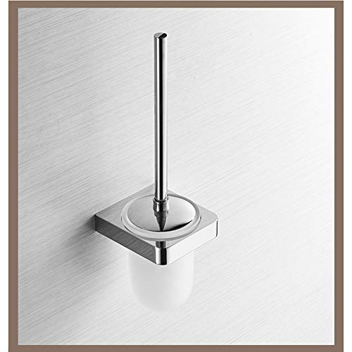 BOOBOOAJ Toilet Brush Holder Chrome with Frosted Glass Cup Bathroom Accessories Toilet Brush Set Bath Hardware