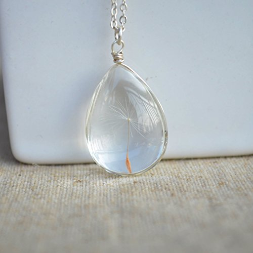 Dandelion Seed Wish Real Flower Glass Water Drop 925 Sterling Silver Necklace 17.7