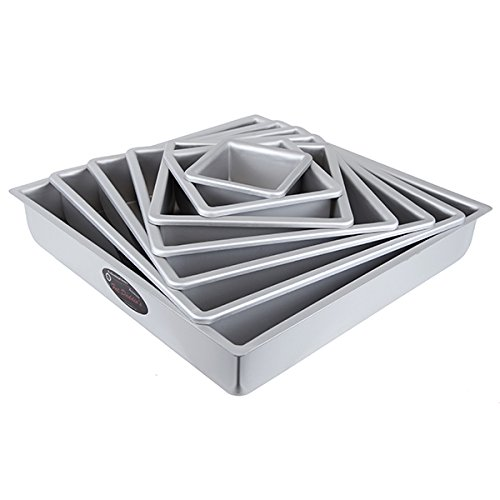Cake Pan Set of 7, Square 2 Inches Odd (3 to 15 Inches) by Fat Daddios