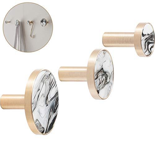 Set Wall Brass Hanger (Creation Core Modern Design Marble Pattern Decorative Brass Wall Mounted Hanger Hook(3PCS Set))