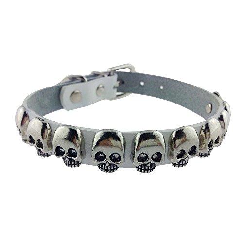 SLZZ PU Leather Dog Collar with Fashion Cool Skull / Adjustable Dog Collar for Small Medium Dogs / White,L:width: 1'', adjustable length: 14.4''-18.4'' 1' Adjustable Large Dog