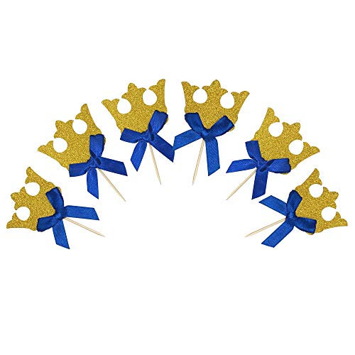Gold Glitter Royal Prince Crown Cake Cupcake Toppers Picks for Wedding Birthday Baby Shower Boys Party Decorations 30 PCS