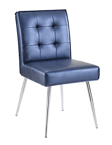 (AVE SIX Amity Chrome Leg and Tufted Back Dining Chair with Piping, Sizzle Azure)