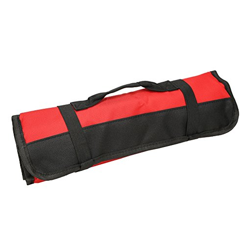 Heavy Duty Truck Tool Boxes (Wrench Roll Up Pouch Red Coiling Block Bag Wera Tools Rolling Organizer Carrier Truck Tool Box Big Tote Carrier Socket Tray with 38 Pockets Sockets and Handle GJB01)
