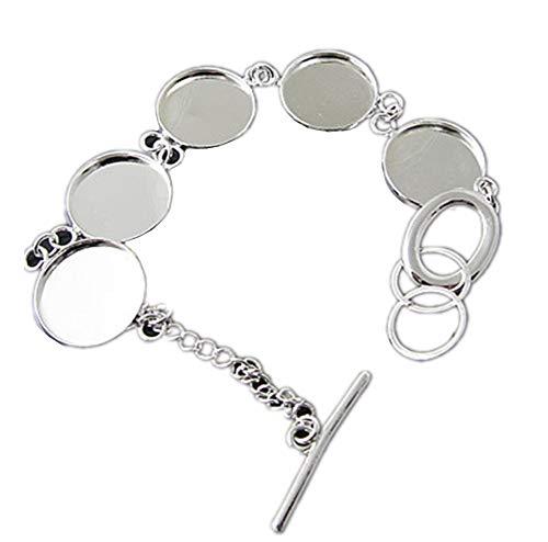 2pcs Adjustable Blank Brass Bracelet Chain Round Blank Cabochon Base Adjustable Blank Bangle with 5 Pads Round Jewelry Disc Base Bezel Tray (Silver, -