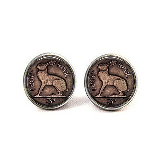 Image of an Irish Celtic Rabbit Or Hare 3 Pence Coin - Rabbit Earrings - 3 Pence Jewelry - Rabbit Jeweller ()