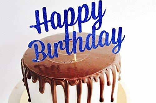 Swell Happy Birthday Blue Glitter Cake Topper Fancy Cake Topper 1St Funny Birthday Cards Online Alyptdamsfinfo