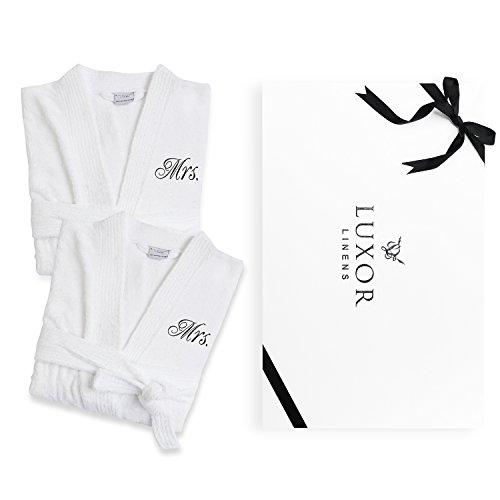 Luxor Linens - Terry Cloth Bathrobes - 100% Egyptian Cotton His   Her  Bathrobe Set - Luxurious 13ea15d2b