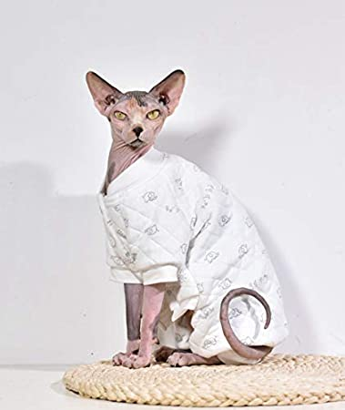 Khemn Designer Cat Warm Clothes Cat Sweater Jumpsuit Cat Pajamas with Thick  Fleece-Best for Hairless Cat, 5 Colors