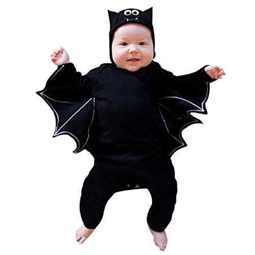 Infant Halloween Cosplay Costume Set Bat Wings Romper Tops Hat,SIN vimklo Black