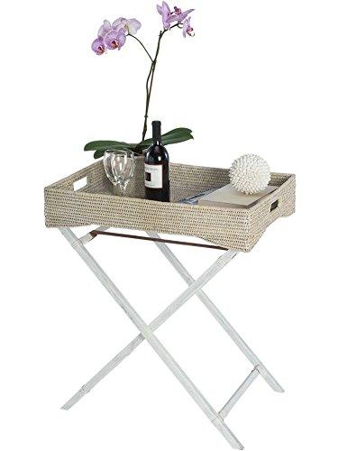 KOUBOO La Jolla Rattan Butler Tray with Folding Wood Stand, White Wash by Kouboo (Image #1)