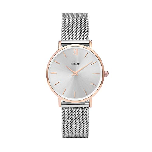 (Cluse Watches for Women Minuit Series 38mm Silver Tone Face with Delicate Chain Link Band Featuring Precision Japanese Quartz Movement. Classic Elegance; Quality Without Compromise CL30025)