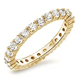Yellow Gold Plated Cubic Zirconia Eternity Anniversary Band .925 Sterling Silver Sizes 9