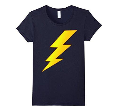 [Women's Lightning Bolt last minute Halloween costume shirt Large Navy] (Thunder Lightning Costume)