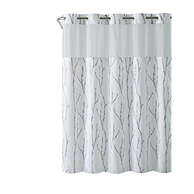 Hookless RBH40MY079 White Blue Cherry Bloom Shower Curtain with PEVA Liner