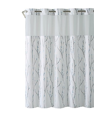 Hookless RBH40MY079 White Blue Cherry Bloom Shower Curtain with PEVA - Sterling Curtain Shower