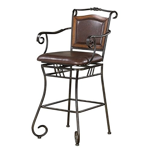 29″ Bar Stool with Upholstered Seat Brown and Bronze