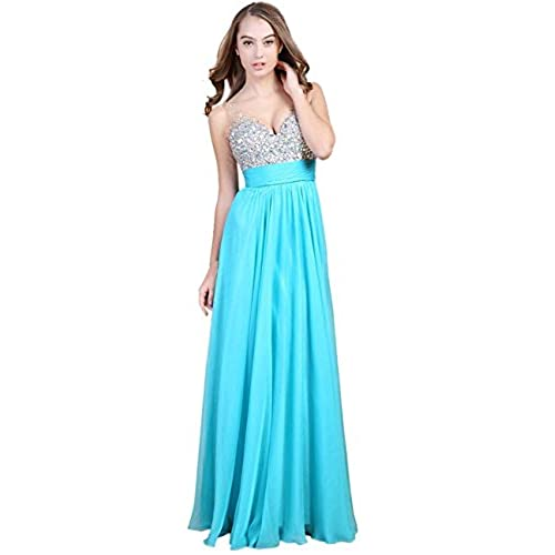 Fanhao Womens Sweetheart Solid Sleeveless Long Gown Dress, Cyan, 4/6