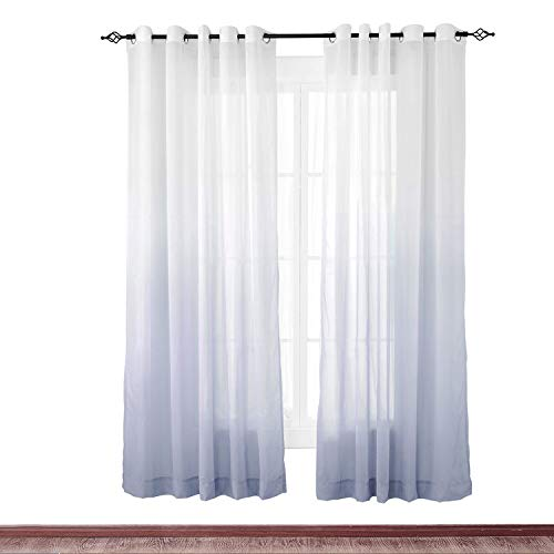 cololeaf Sheer Curtains Indoor Outdoor Gradient Ombre Living Room | Bedroom | Library | Classroom| Hotel | Club - Nickle Grommet - Light Purple 84'' W x 84'' L (1 Panel) by cololeaf