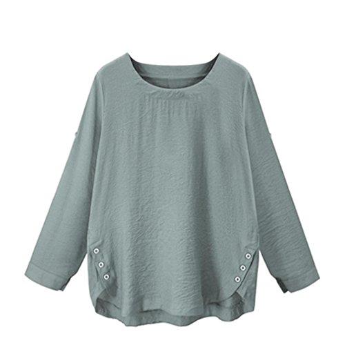 [M-4XL] レディース Tシャツ 綿とリネン ボタン ラウンドネック 長袖 トップス おしゃれ ゆったり カジュアル 人気 高品質 快適 薄手 ホット製品 通勤 通学