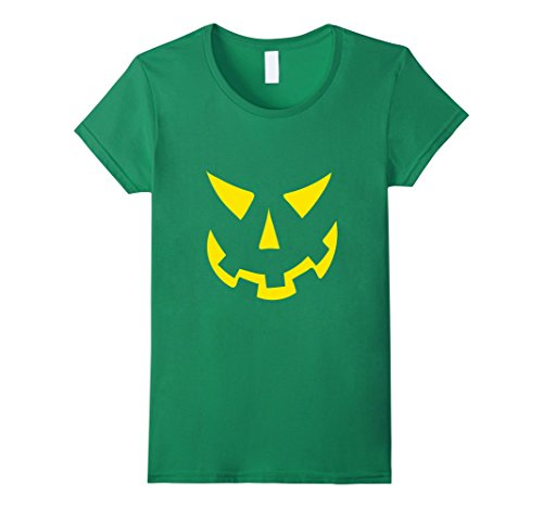 Womens Jack O' Lantern Pumpkin Face DIY Halloween Costume T-Shirt XL Kelly Green