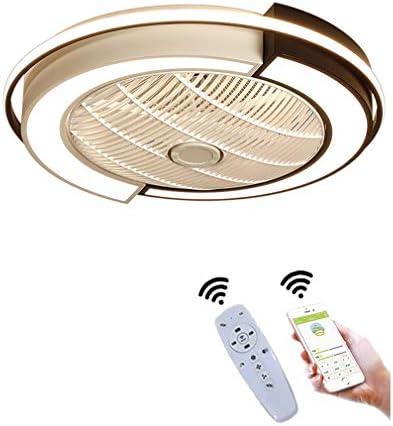 YAOXI Ledplafondlamp plafondventilator met afstandsbediening stil dimbaar instelbare windsnelheid plafondlamp voor slaapkamer woonkamer eetkamer wit D53 x 20 cm 36 W