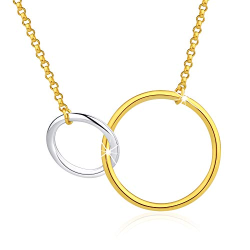 Esberry✦18K Gold Plated S925 Sterling Silver CZ Interlocking Circles Infinity Pendant Necklace Cubic Zirconia Two Circles Pendant with Necklace for Women and Girls (Multicolor-2)