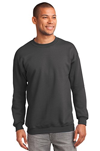 Port & Company Men's Tall Ultimate Crewneck Sweatshirt LT Charcoal (Tall Crewneck Sweatshirt)