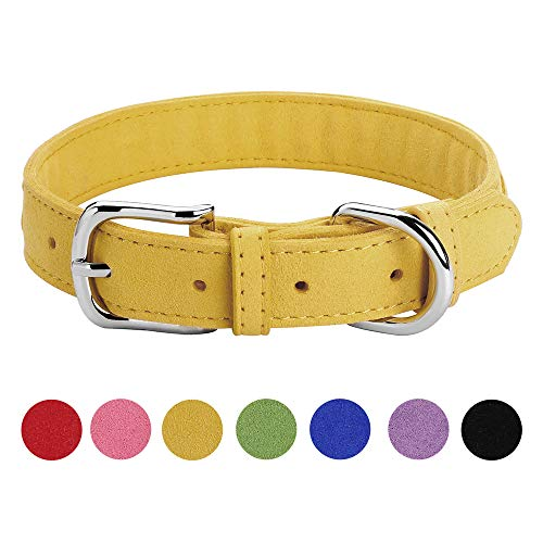 DAIHAQIKO Microfiber Dog Collar for Puppies Cats Small Medium Dogs Black Blue Green Pink Purple Red Yellow Colorful Pet Collar with Alloy Metal Buckle Braided Decoration (M, Yellow) ()