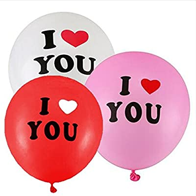 "[USA-Sales] Happy Valentines Day Party I Love You Heart Balloons, Qty. 20 pcs, 12"" Premium Latex Quality, Assorted Colors, by USA-Sales Seller: Toys & Games"